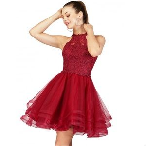 Red Short Party Dress with Halter Top Size 14